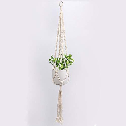 JieGuanG Colgador de plantas, cuerda de algodón para colgar macetas de pared con borlas para pasillo, jardín, porche, ventana (blanco)
