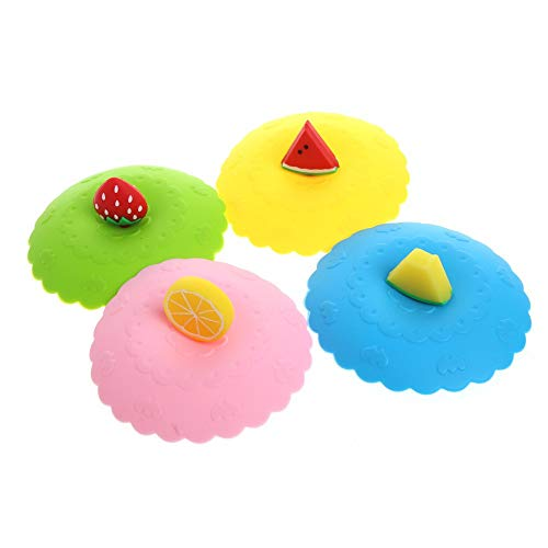4Pcs Cute Fruit Silicone Cup Cover Dustproof Cap Leakproof Airtight Sealed Lid for Coffee Tea Drinking Cup