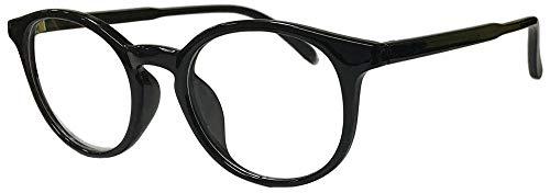 フェイストリックグラッシーズ UVカット99.9%以上 形の良いボストン型 細身のプラ枠でレトロにお洒落 伊達メガネ ブラック/クリアUVカットレンズ H6120-1