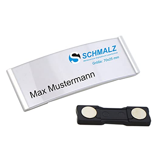 Schmalz® 10 STÜCK edles Aluminium Namensschilder mit starkem Magnet Doppelmagnet silber eloxiert professionelle Qualität, modisch gewölbt ca. 70x25mm mit Papiereinschub (silber)
