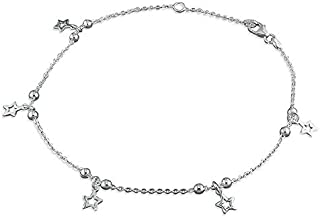 Sterling Silver Anklet 23-25cm beads and stars