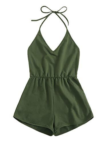 SweatyRocks Women's Halter Sleeveless Short Jumpsuit Rompers Backless Playsuit Army Green L