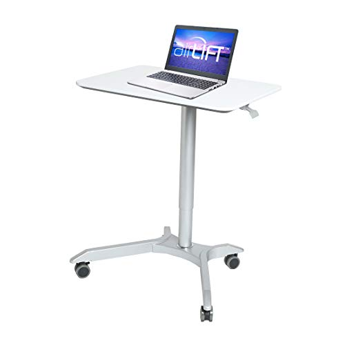 "Seville Classics AIRLIFT XL 28"" Pneumatic Height Adjustable Sit-Stand Mobile Laptop Computer Desk Cart (27.1"" to 41.9"" H), White"