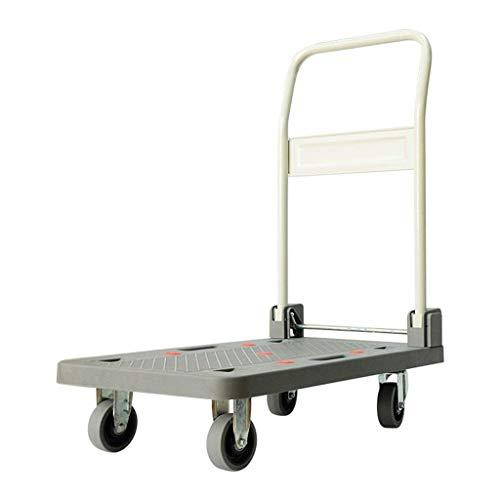 LLSS Faltbarer Handwagen, tragbarer Einkaufswagen Faltbarer Trolleywagen Home Pull Cart Pritschenwagen Faltbarer älterer Wagen 4 Runden Universalrad
