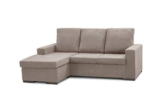 SWEET SOFA® Sofá ChaiseLongue Chicago, sofá 3 plazas con pouff Reversible, tapizado en Tela Antimanchas Gris. (Beige)