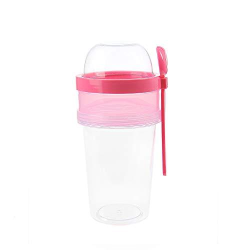 BEFA Müsli to Go | BPA Frei | Müslibecher | Deckel inkl Löffel mit Halterung | Joghurtbehälter | Obstbehälter | Salatbecher | Reisebecher | Lunchbox | Fruit (Pink)