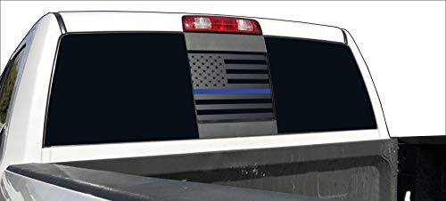 Elevated Auto Styling- Back Middle Window American Flag Compatible with Dodge RAM 2009-2018 (Thin Blue Line)