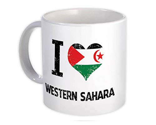 Ich liebe die Westsahara : Geschenk Becher : Herz Flagge Land Wappen Expat