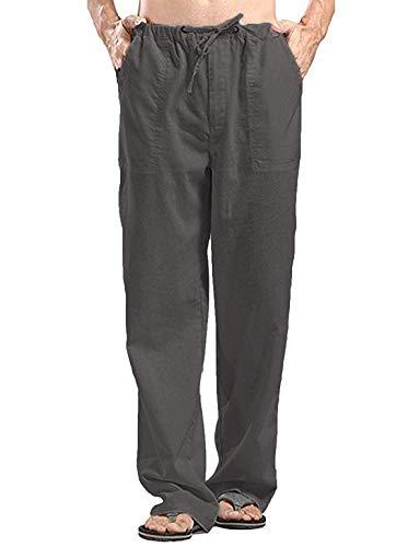 COOFANDY Yogahose Herren Lang aus Baumwolle Leinen mit Tunnelzug Große Taschen Leicht Dunkel Grau XL