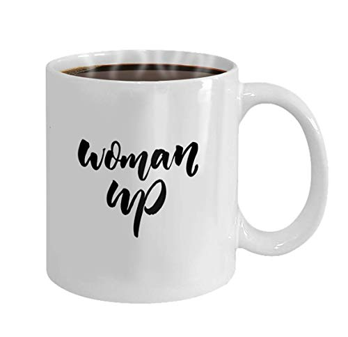 N\A Tazas de café Taza de café de cerámica Blanca Taza de Regalo Novedad Mujer hasta Caligrafía de Pincel de Lema de Feminismo Corto aislada sobre Fondo Blanco