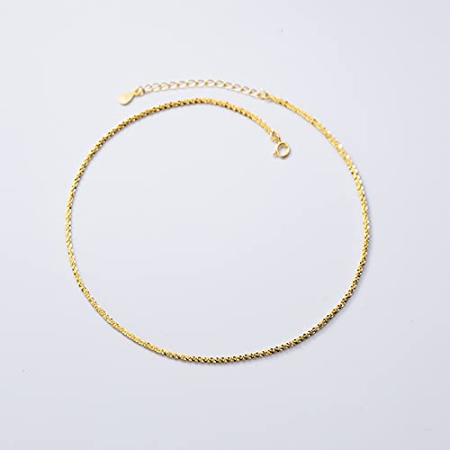 MTTN Trustdavis Genuine 925 Sterling Silver Star Heaven Short Chain Clavicle Chain Necklace For Women Wedding Jewelry Gift DS2106 (Gem Color: Gold)