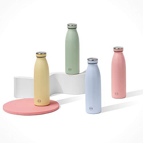 GH Botella de Agua acero Inoxidable 500ml Niebla Azul | Frasco de Agua de Metal Reutilizable | Botella Termica Doble pared al vacío | Botella de bebida reutilizable Sin BPA, Antigoteo y Fugas
