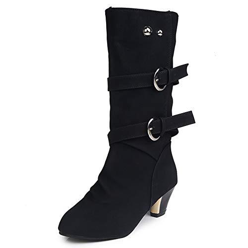 Lady Boot, Winter Fashion Schenkel-Hohe Stiefel Mit Runder Kappe Mit Doppelschnalle Gummi Schuhe Für Jeden Tag,Schwarz,42EU