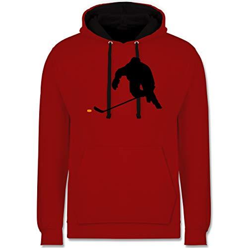 Shirtracer Eishockey - Eishockey Sprint - M - Rot/Schwarz - Eishockey Trikot - JH003 - Hoodie zweifarbig und Kapuzenpullover für Herren und Damen