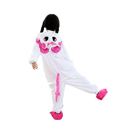 DarkCom Enfants Onesie Kigurumi Pyjama Animal Cosplay Costumes De Bande Dessinée Combinaison De Vêtements De Nuit Rose Licorne - Taille 130(proposer hauteur:126cm-134cm)