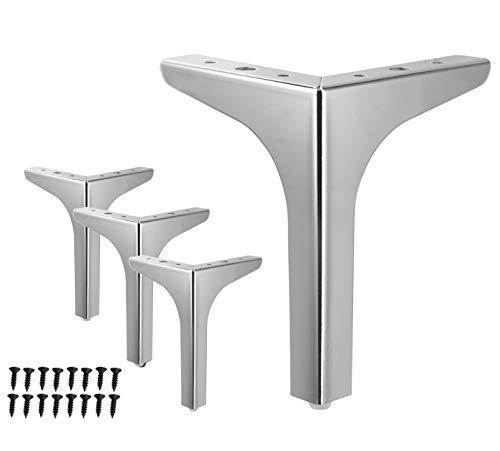 7 inch Metal Furniture Legs WEICHEN Silver Chrome Metal Legs Triangle Sofa Legs for Cabinet Cupboard Couch Modern Furniture Feet Set of 4 (Silver)