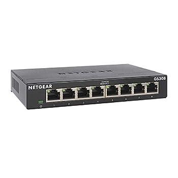 NETGEAR 8-Port Gigabit Ethernet Unmanaged Switch  GS308  - Home Network Hub Office Ethernet Splitter Plug-and-Play Silent Operation Desktop or Wall Mount