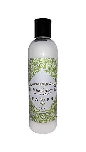 Lait-Crème Visage-Corps hydratant Français 20% Lait de Chèvre Frais Bio. Produit 100% Naturel,Végétal.Formulé sans Sulfates,Silicones-Parabens-EDTA-Colorants-OGM-huile de palme 250ML