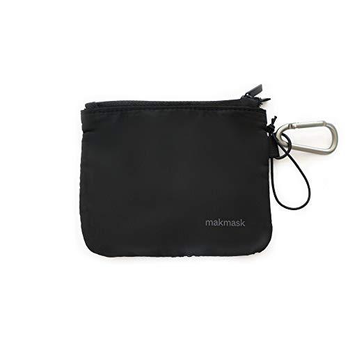 Makmask bag - Funda para Mascarillas - Color Negro - 14 x 11 cm - Doble Compartimento - 100% Poliéster - Guarda tu Mascarilla - Máxima Protección - Incluye Mosquetón Metálico - Fácil de Transportar