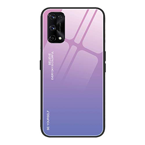 TOPOFU Case Suitable for Realme 7 Pro Case, Ultra Slim Tempered Glass Back Cover with Silicone TPU Border Antiscratch Antishock Gradient Color