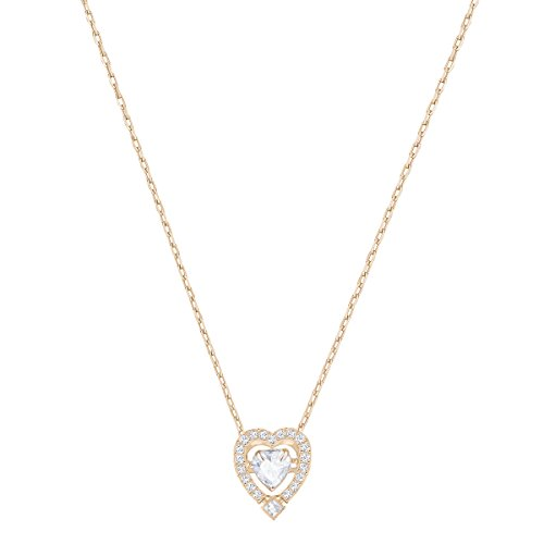 Swarovski Women's Sparkling Dance Heart Necklace, Stunning Crystals, Rose-gold Tone Plated, from the Swarovski Sparkling Dance Collection