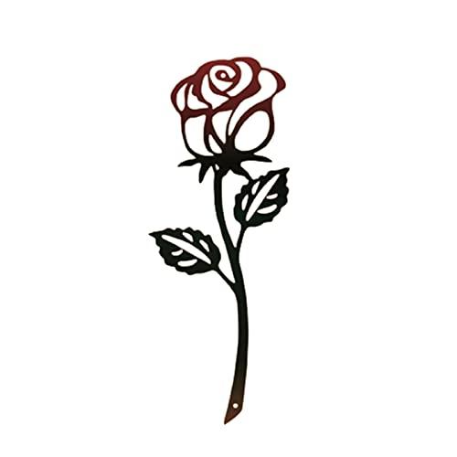 Pyude Metal Rose Adorno de Arte de Pared Montado en la Pared Hierro Forjado Decoración de Flores Tablero de Rosas de Metal Arte de jardín para el hogar Sala de Estar Dormitorio