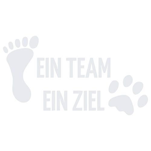 kleb-Drauf | 1 EIN Team EIN Ziel | Weiß - glänzend | Autoaufkleber Autosticker Decal Aufkleber Sticker | Auto Car Motorrad Fahrrad Roller Bike | Deko Tuning Stickerbomb Styling Wrapping