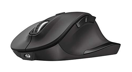 Trust Fyda Mouse Wireless Ricaricabile (Design Ergonomico, Ricevitore USB plug-and-play, DPI 800/1200/1600/2000/2400, PC Portatile/Computer) Nero