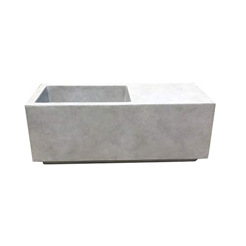Kante RF0151A-C80021 Lightweight Modern Square Outdoor Planter, Natural Concrete