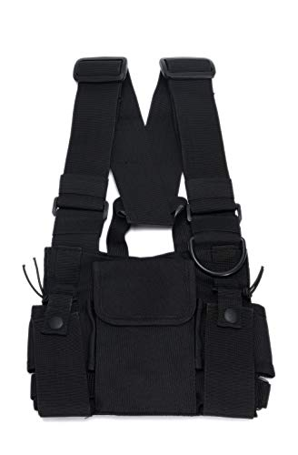 Radio Chest Harness Rig Holster Pack with Front Pouches and Zipper Bag for Universal Walkie Talkies
