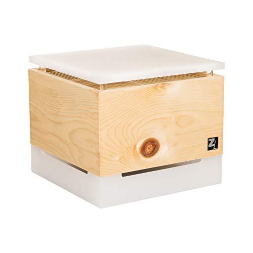 ZirbenLüfter ® Cube Salzburg für ca. 40 m2 | Luftbefeuchter | Luftreiniger aus Zirbenholz | der Verdunsterbehälter (1 Liter) und Abdeckplatte ist transluszent (milchig) mit Blume des Lebens