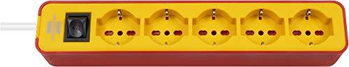 Brennenstuhl, Enchufe múltiple Ecolor 5 Tomas 1,5 m Rojo/Amarillo *IT*