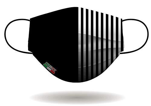 Mascherina per Viso con elastici, lavabile e sterilizzabile, Unisex, Made in Italy (BIANCO NERO)
