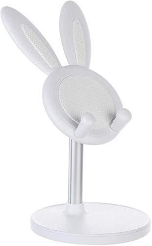 Rabbit Telescopic Holder,Ears Cute Bunny Tablet Stand Phone Holder,Adjustable Cell Phone Stand Tablet Stand Holder (White)