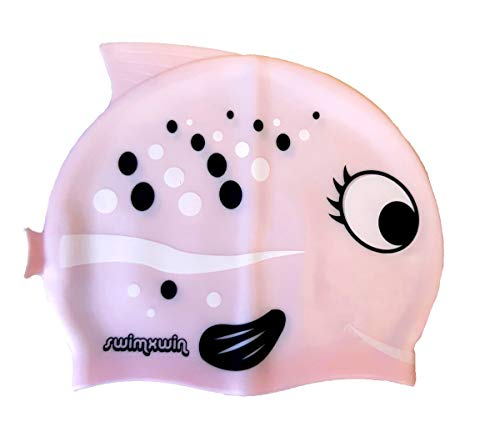 SWIMXWIN Cuffia in Silicone con pinnette da Nuoto Piscina Bambino Bambina 3 – 9 Anni (Kid Fish Rosa)