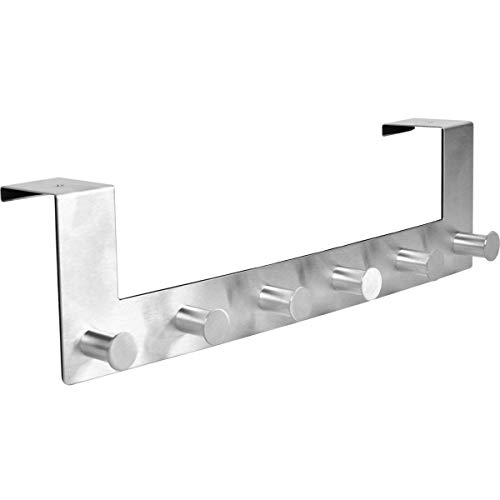 iGadgitz Home U7082 6 Haken aus Edestahl Türhaken Verstauung Türhakenleiste - Silber