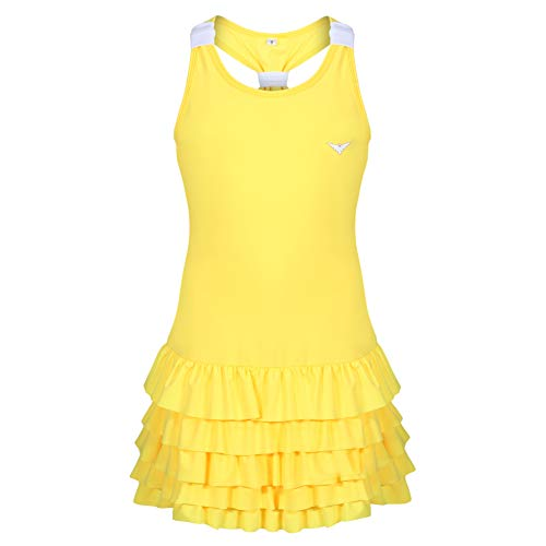 Bace Vestido de tenis para niñas, falda con volantes, vestido de tenis junior, equipo de netball, vestido de golf para niñas, ropa deportiva para niñas (amarillo, 7-8 años)