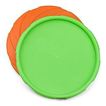 Demason 2 Packs Frisbee Chien en en Caoutchouc, 18 cm Disque Frisbee Jouet Flottant Dog Frisbee Résistant, Dressage de Chiens pour Extérieur (Vert, Orange)