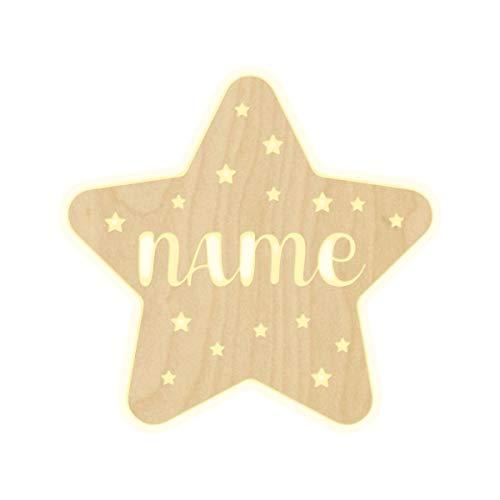 """Wandlampe\""""Stern\"""" Kinderzimmer personalisierte Lampe mit Namen Nachtlicht Leuchte LED Wandleuchte Dekoration Holz Jungen Mädchen Baby Geschenk Set Schlummerlicht"""