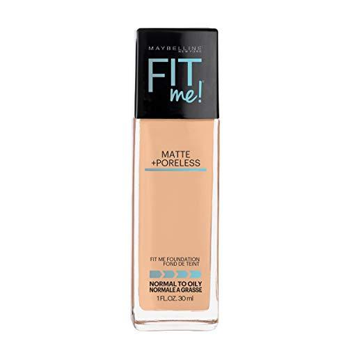 Maybelline Fit Me Matte + Poreless Liquid Foundation Makeup, Natural Beige, 1 fl. oz. Oil-Free...