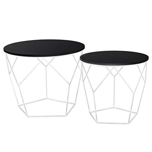 Ribelli Metalltisch schwarz – Holzplatte auf stabilem Metallgestell – Beistelltisch ideal für Wohnzimmer, Schlafzimmer, Büro und Co. – Zwei Tische im Set (Dunkles Holz/weiß)