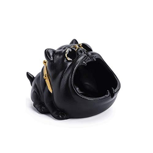 ZANZAN Cendrier créatif Cendres à Vent Grande capacité Cendres de Cendres pour Cigarette Bully Shape Dog Tableau de Bureau Multi-Fonctionnel Conteneur -Cemployeux (Color : Black)