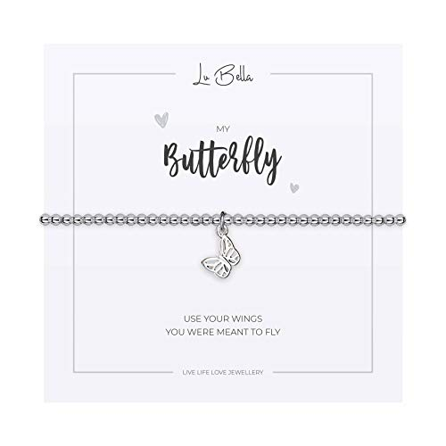 My Butterfly Bracelet For Woman. Adjustable Silver Jewellery with Butterfly Charm and Gift Bag from Lu Bella
