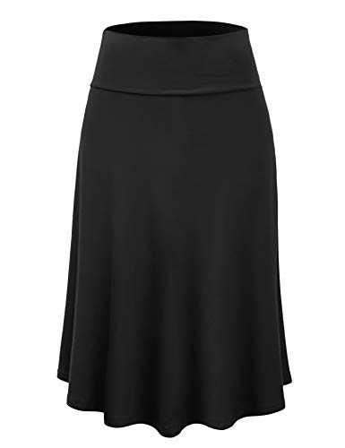 Lock and Love LL WB1105 Womens Lightweight Fold Over Flared Midi Skirt M Black