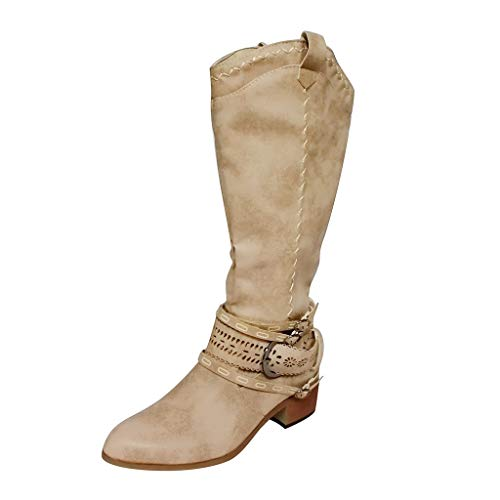 Fullwei Cowboy Boots for Women Women Vintage Cowgirl Embroidered Thigh High Boots Ladies Western Knee High Motorcycle Riding Boot Walking Shoe (Khaki  10.5)