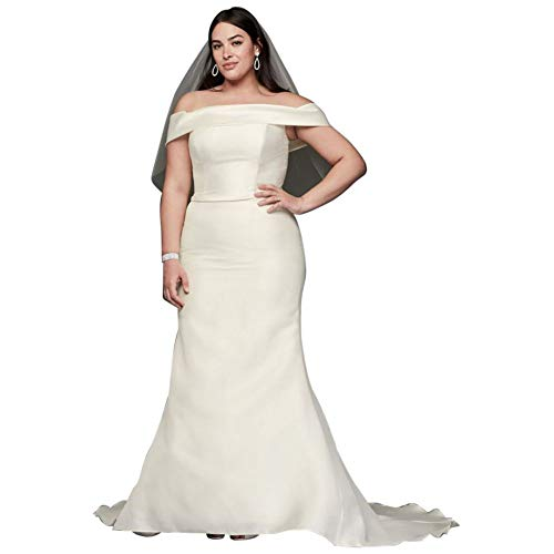 Off-The-Shoulder Mikado Plus Size Wedding Dress Style 9WG3880, Ivory, 24W