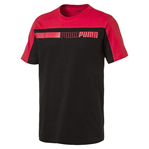 PUMA Modern Sports Advanced Herren T-Shirt Cotton Black-High Risk red L