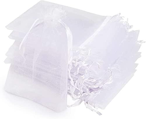 ABSOFINE 120pcs Sacs Organza,Sachets Pochettes Cadeau en Organza avec Rubans pour Bijoux Cadeaux Bonbons Marriage, 10x15cm Blanc