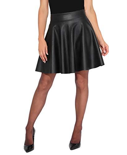 KRISP Falda corta de cuero sintético, negro