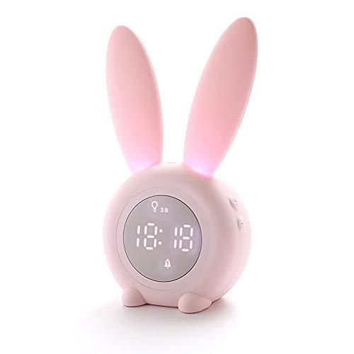 A1-Brave wekker, cartoon, haas, wekker, voor kinderen, slaaptrainer, oplaadbaar, nachtlampje met 6 stemen, timer, automatische uitschakeling, met digitale thermometer